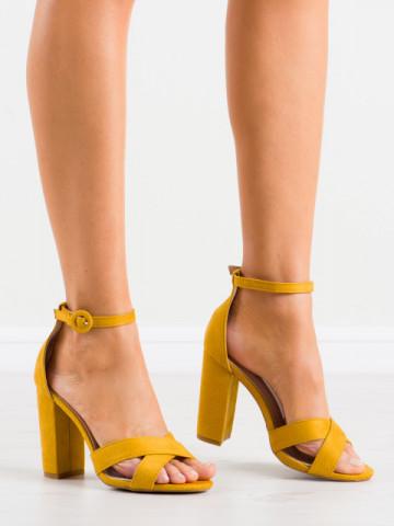 Sandale cu toc cod TU133 Yellow