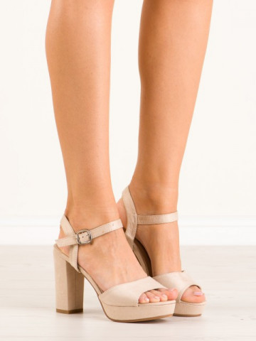 Sandale cu toc cod YL96095 Beige