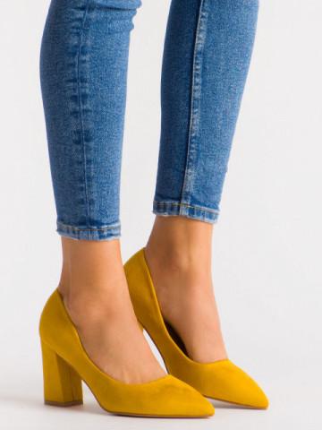 Pantofi cu toc cod 030-22 Yellow