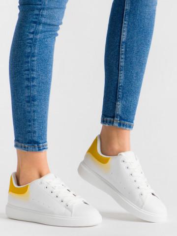 Pantofi sport cod R-686 White/Yellow