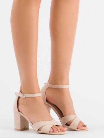 Sandale cu toc cod 1-124 Beige