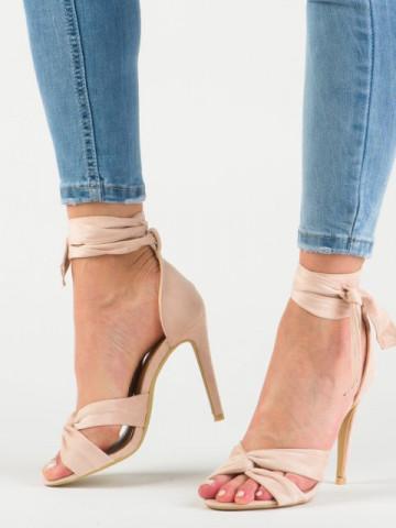 Sandale cu toc cod 1228-14 Beige