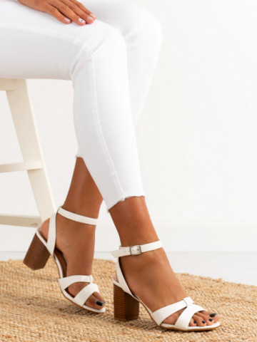 Sandale cu toc cod 333-12 White
