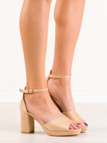 Sandale cu toc cod 6952-GL Beige