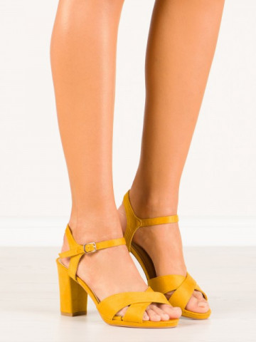 Sandale cu toc cod 955-48 Yellow