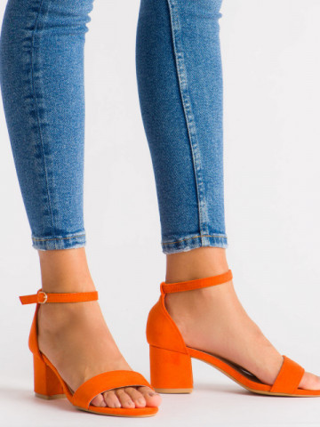 Sandale cu toc cod 99-36A Orange