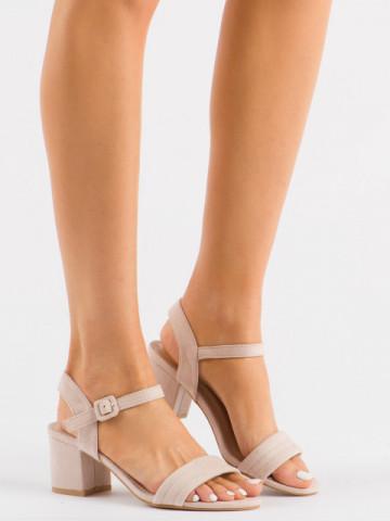 Sandale cu toc cod 99-61A Beige