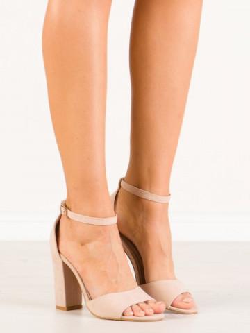 Sandale cu toc cod A10 Beige