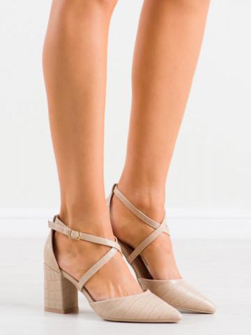 Sandale cu toc cod GG92 Beige