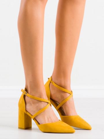 Sandale cu toc cod LE069 Yellow