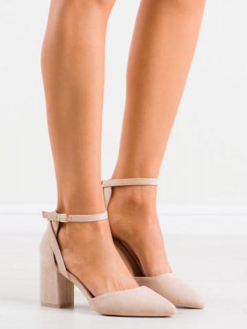 Sandale cu toc cod LE075 Beige