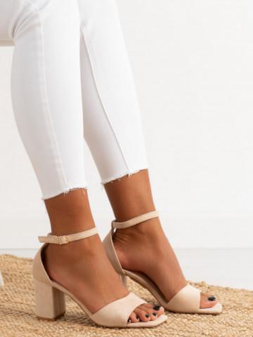 Sandale cu toc cod LL247 Beige