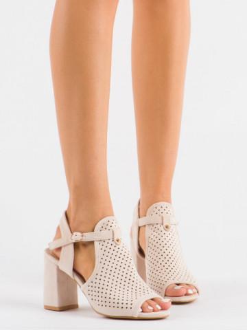 Sandale cu toc cod LL79 Beige