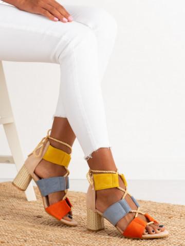 Sandale cu toc cod R129 Beige