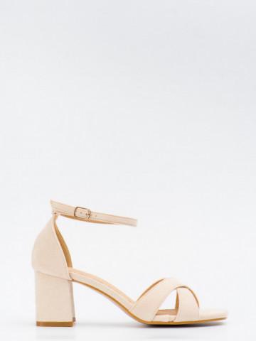 Sandale cu toc cod SK75 Beige