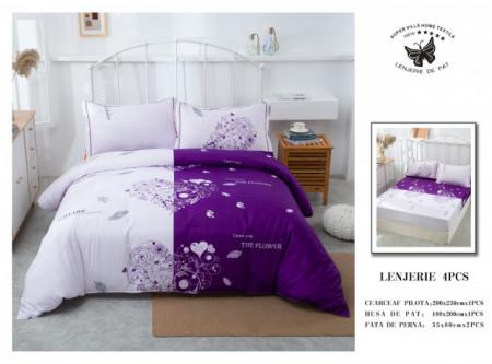 Lenjerie de pat 4 pcs Cearceaf cu Elastic - BS4P 17