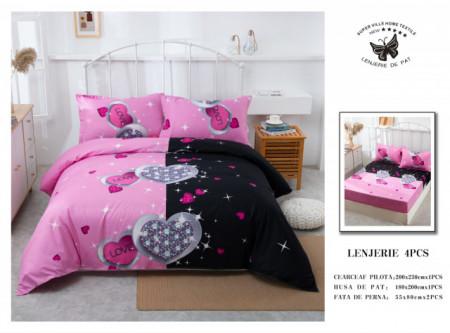 Lenjerie de pat 4 pcs Cearceaf cu Elastic - BS4P 27