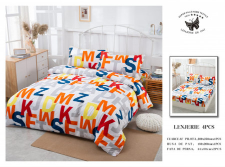 Lenjerie de pat 4 pcs Cearceaf cu Elastic - BS4P 11