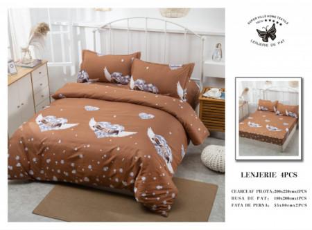 Lenjerie de pat 4 pcs Cearceaf cu Elastic - BS4P 13