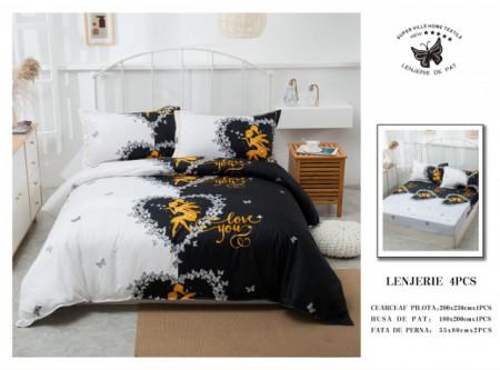 Lenjerie de pat 4 pcs Cearceaf cu Elastic - BS4P 23