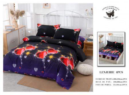 Lenjerie de pat 4 pcs Cearceaf cu Elastic - BS4P 05