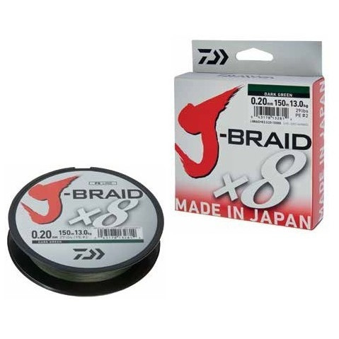 Fir textil J-BRAID X8 verde, 150m Daiwa