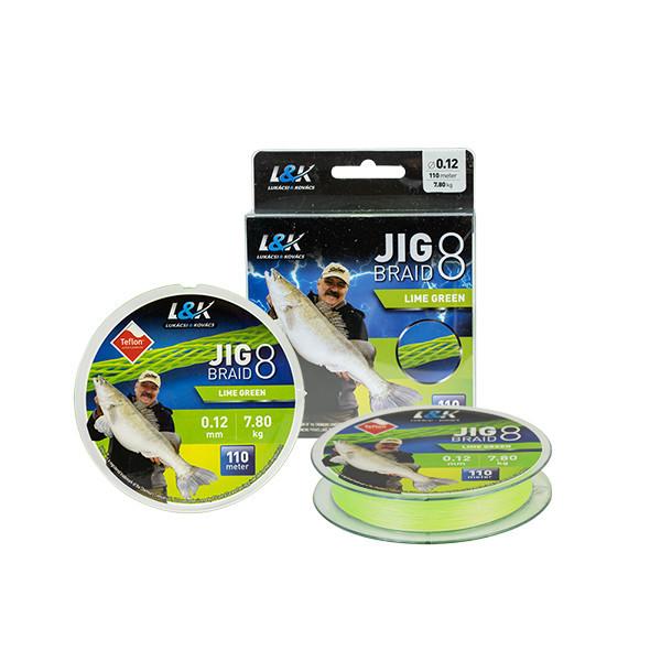 Fir textil L&K Jig Braid, Lime Green, 110m (Diametru fir: 0.08 mm) L&K Oferta pescar-expert