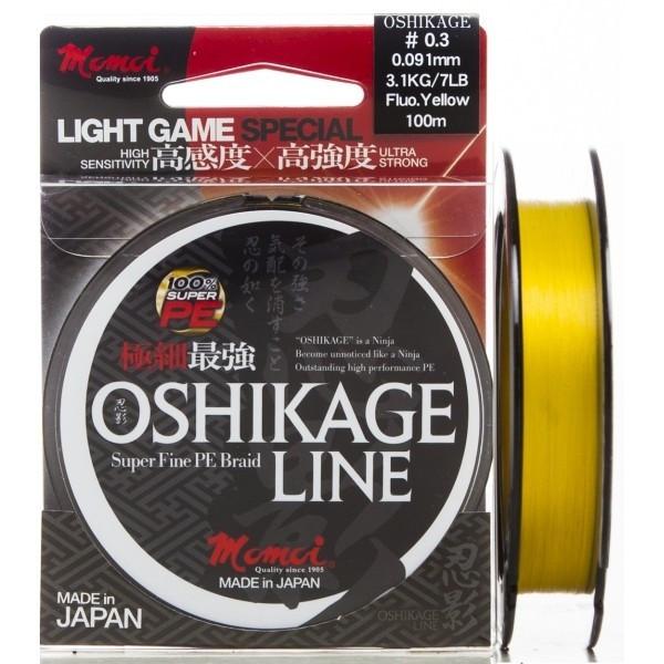 Fir textil Oshikage Fluo Yellow 100m Momoi (Diametru fir: 0.09 mm) Momoi Oferta pescar-expert
