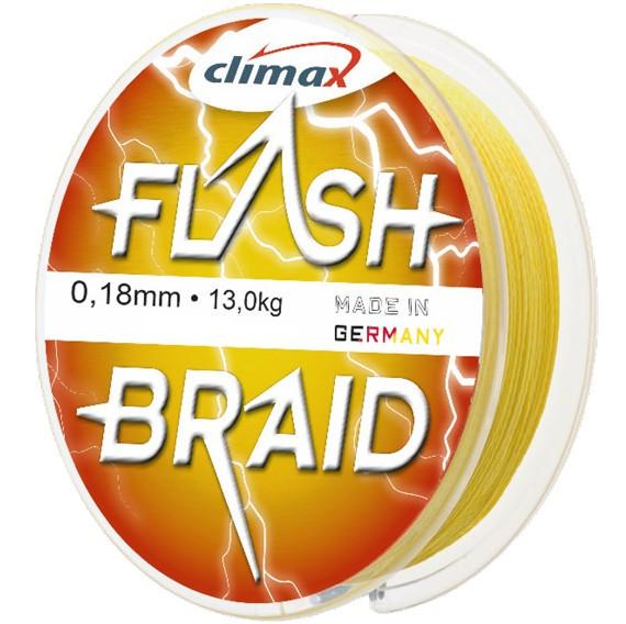 Fir textil Climax Flash Braid, galben fluo, 100m (Diametru fir: 0.20 mm) Climax Oferta pescar-expert