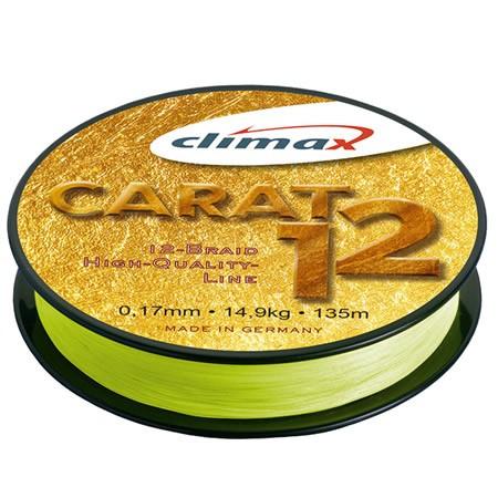 Fir textil Climax Carat 12, galben fluo, 135m (Diametru fir: 0.17 mm) Climax Oferta pescar-expert