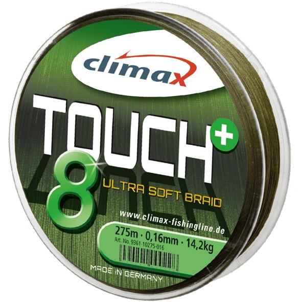 Fir textil Climax Touch 8+, verde, 135m (Diametru fir: 0.28 mm) Climax Oferta pescar-expert
