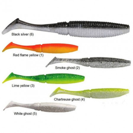Poze Shad Power Shad Dual Red Flame Yellow 10cm, 8buc/plic Rapture