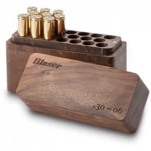 Cutie lemn de nuc pentru munitie 20 posturi Blaser