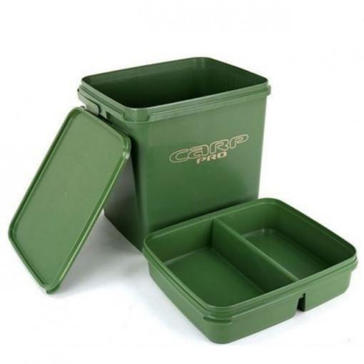Galeata dreptunghiulara Carp Pro plastic verde cu capac si tavita