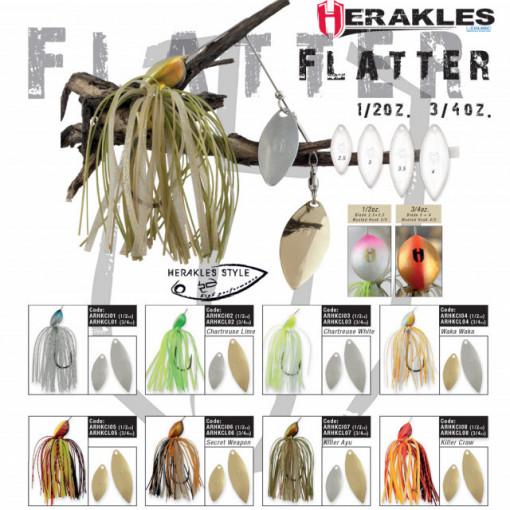 Spinnerbait Herakles Flatter, Chartreuse/White, 21g