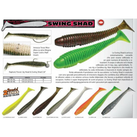 Poze Shad Ribbed Swing Chartreuse 7cm, 12buc/plic Rapture