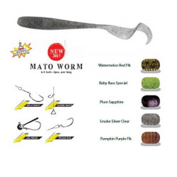 "Grub Mato Worm 6.5"" 16.5cm Watermelon Red Flakes Herakles"