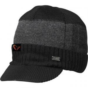 Fes tricotat negru cu gri cu cozoroc Savage Gear