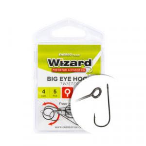 Carlige Wizard Big Eye Twister, Black Nickel