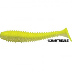 Shad Ribbed Swing Chartreuse Ghost 9.5cm, 7buc/plic Rapture