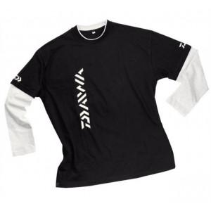 Bluza maneca lunga bumbac negru/alb Daiwa