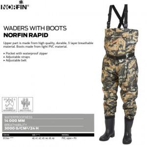 Waders cu cizme Norfin Rapid, camuflaj