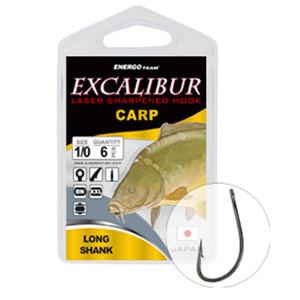 Carlige Excalibur Carp Long Shank BN, 10buc