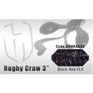 """Grub  Rugby Craw 3"""" 7.6cm Black Red FLK 8buc/plic Herakles"""