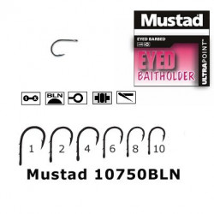 Carlig negru nichel forjat / 2 spini / 10 buc/plic MUSTAD