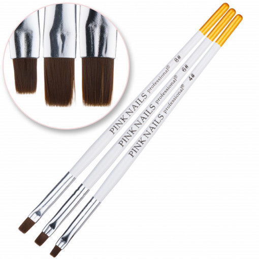Set 3 pensule pentru gel - White