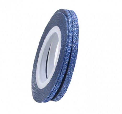 Banda adeziva Blue Glitter 2mm