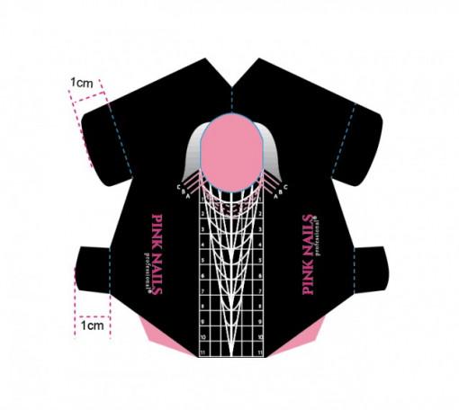 Rola 500 sabloane Pink Nails Professional Stiletto Black