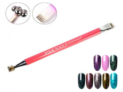 Multi Magnet Pink Nails