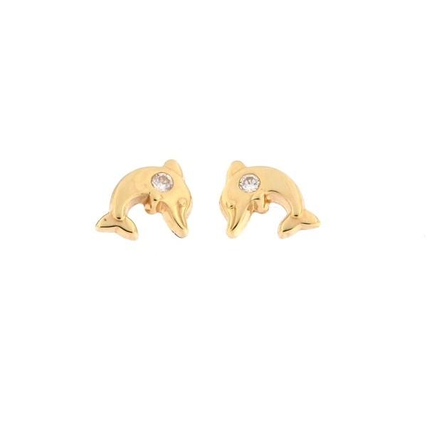 Cercei copii - Delfini mici aur galben cu pietricica imagine